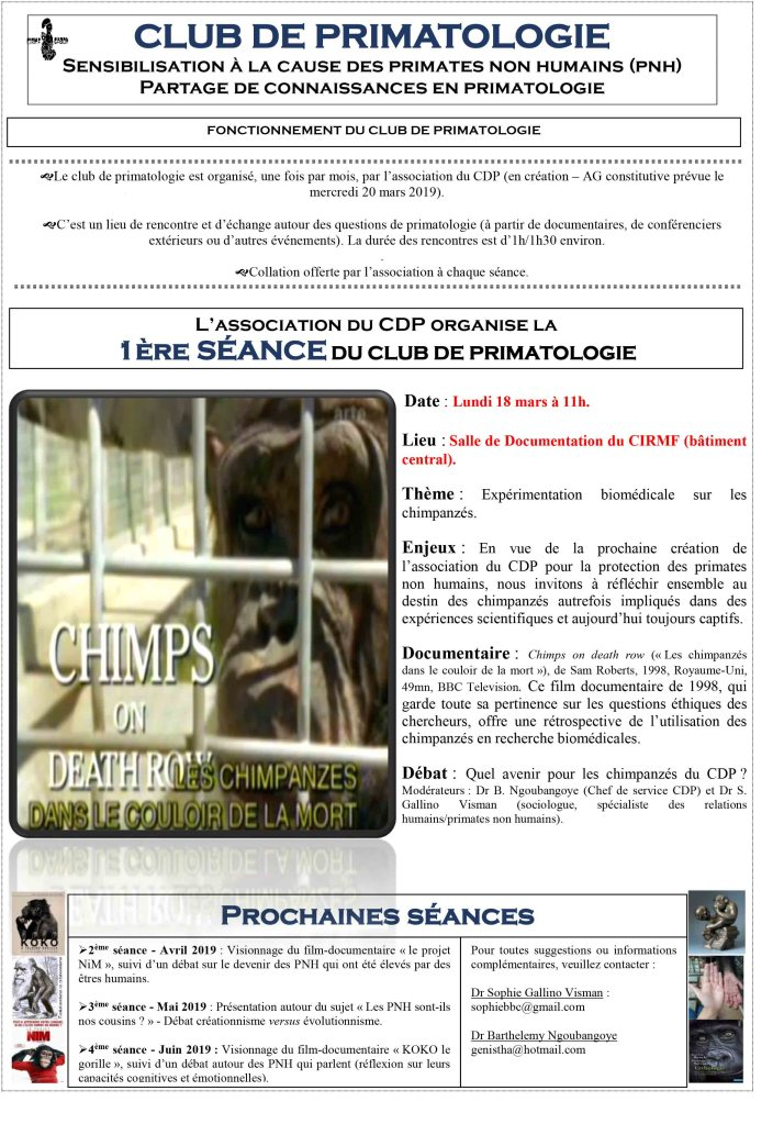 Affiche Club de Primatologie #1